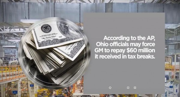 Ohio Wants GM to Pay Back $60 Million